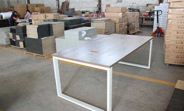 Conference Table Modern Design Meeting Table Desk Metal Wood - Wood and metal conference table